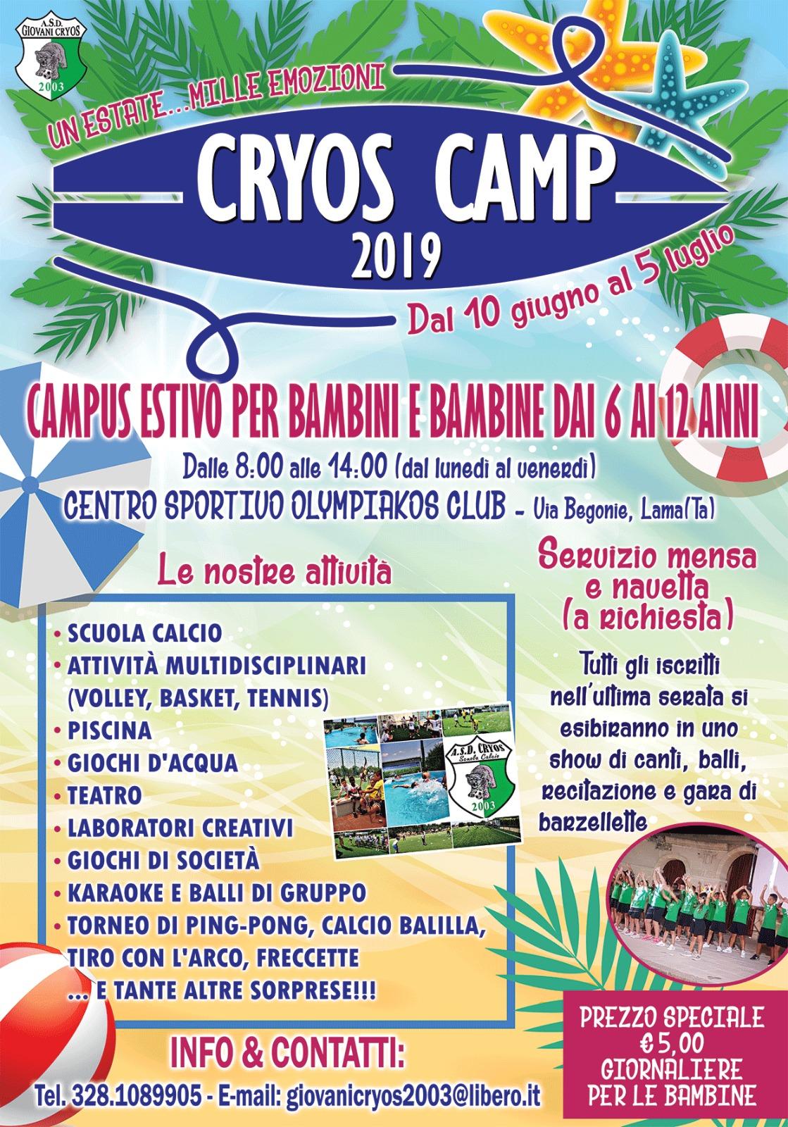 Locandina Cryos Camp 2019
